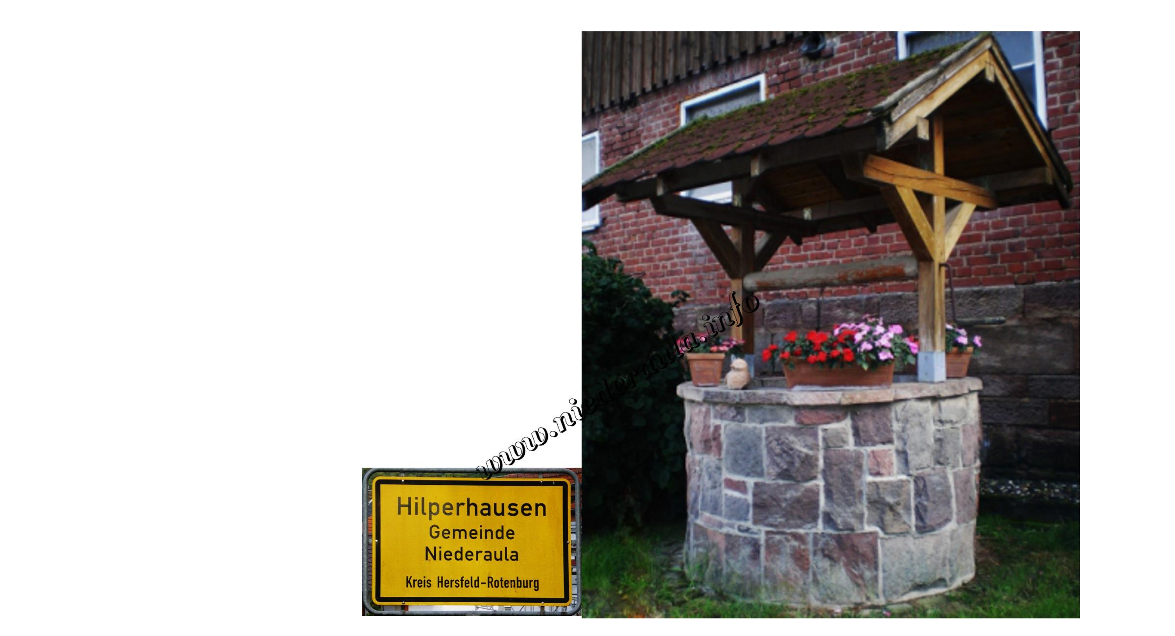 Blick auf den Dorfbrunnen Hilperausen